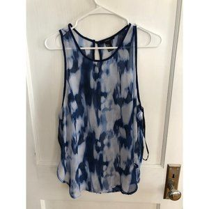 Forever 21 sheer tie dye blue tank top size Large